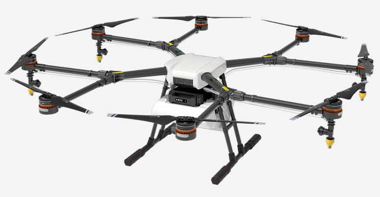 Zemědělský dron Agras MG-1S a práškování polí
